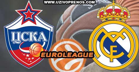 EVROLIGA: CSKA Moskva - Real Madrid UŽIVO PRENOS ONLINE