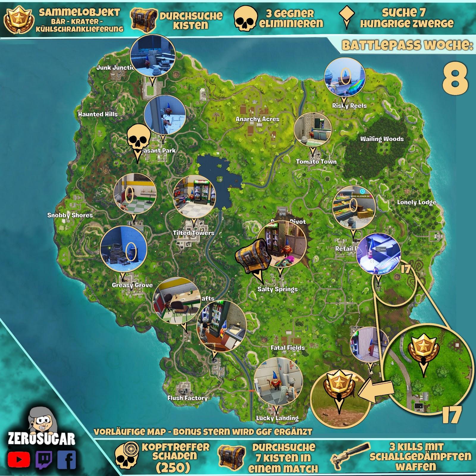 Woche 8 Losungen Battlepass Season 4 Fortnitetown Fortnite