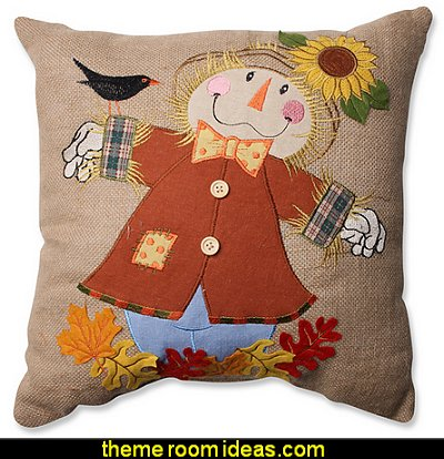 Harvest Scarecrow Burlap 16.5-inch Throw Pillow