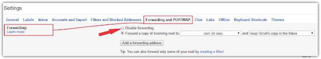Gmail Disable Forwarding