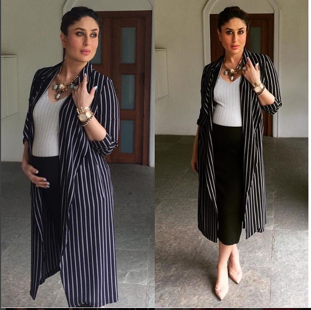 da8eedc630b Kareena Kapoor Khan s Maternity Style Is On Point In This Monochrome Outfit