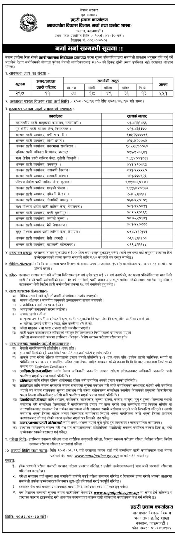 Nepal Police Announces Vacancy For Police Sub-Inspector, Nepal