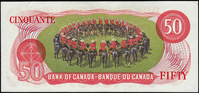Canada money currency 50 Dollar Note 1975 Musical Ride of the Royal Canadian Mounted Police