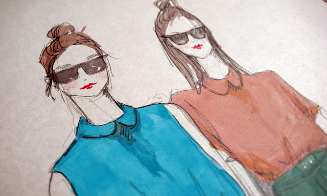 illustration of american apparel hipster girls in sunglasses, peterpan collar and top knot.