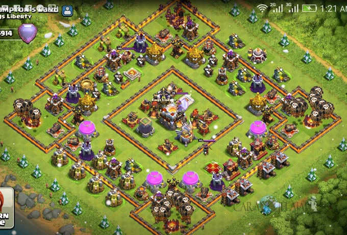 Base Hybrid TH 11 COC Update Bomb Tower Terbaru 2017 Tipe 1
