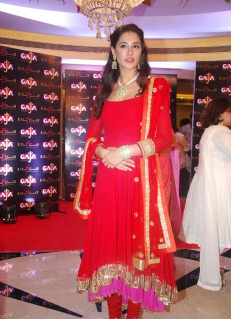 Indian Bollywood Star Nargis Fakhri in Hot Red Anarkali Suit