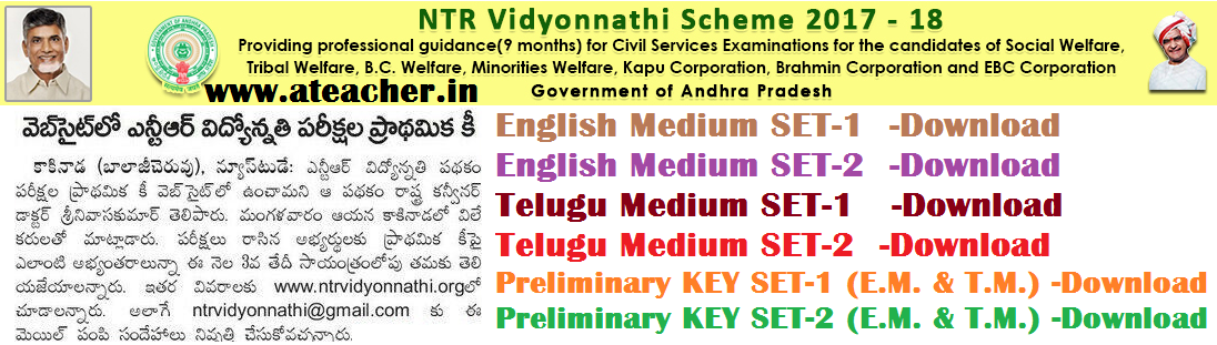 NTR Vidyonnathi Scheme Entrance Exam/Screening Test 2017 Question Papers with Preliminary answers Keys Sheets SET-1/SET-2,Results,Selection/merit Lists