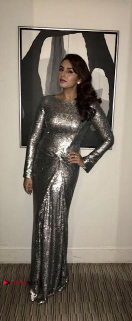 Bollywood Actress Huma Qureshi in Silver Glitter Dress at Empire Awards  0001.JPG