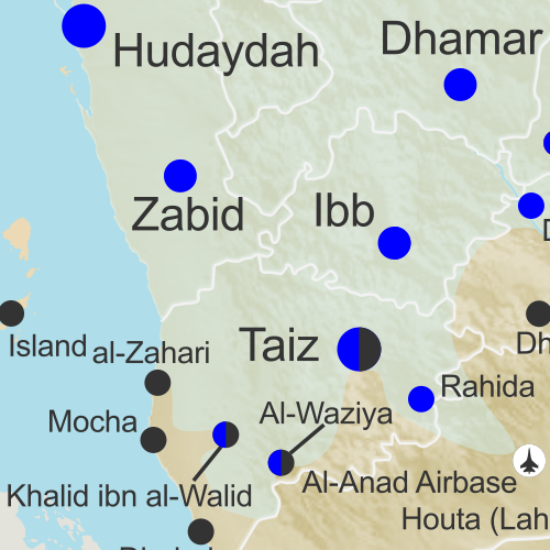 Map of what is happening in Yemen as of May 18, 2017, including territorial control for the Houthi rebels and former president Saleh's forces, president-in-exile Hadi and his allies in the Saudi-led coalition and Southern Movement, Al Qaeda in the Arabian Peninsula (AQAP), and the so-called Islamic State (ISIS/ISIL). Includes recent locations of fighting, including Mocha, Maydee, al-Zahari, Nihm, and others, including areas along the Yemen border with Saudi Arabia.