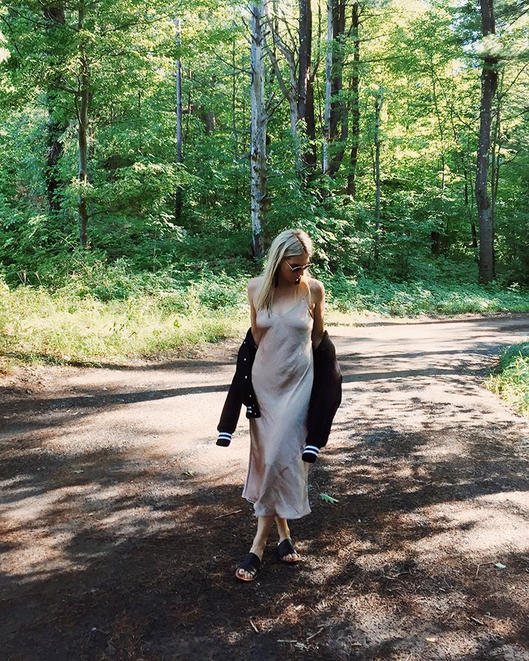 heleneisfor x aritzia slip dress, Vanessa Mooney tassel earrings, Soludos sandals, bomber jacket