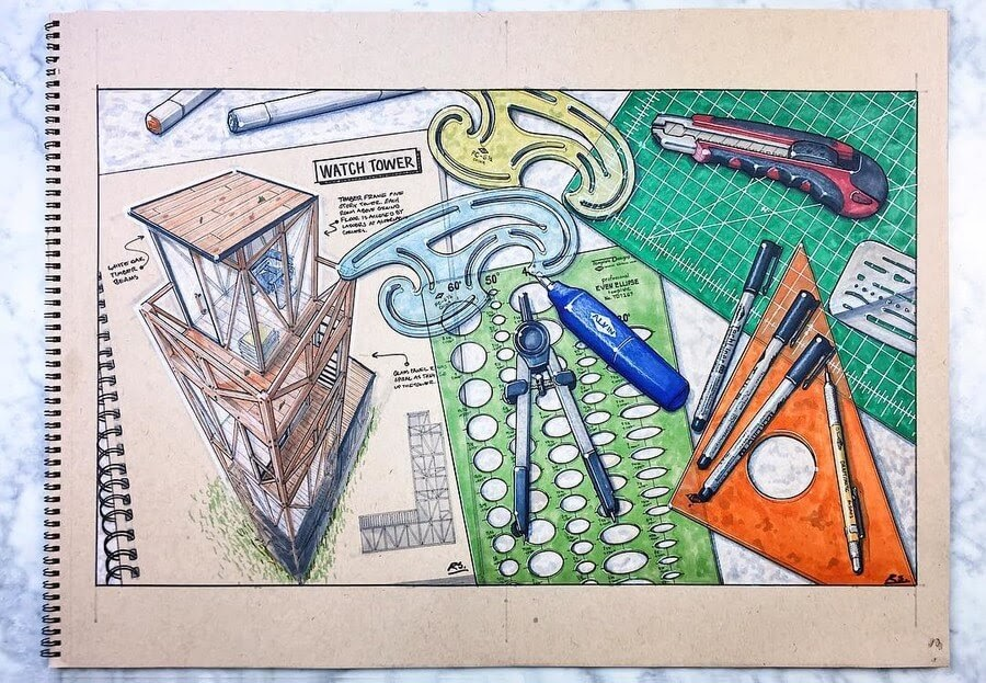 09-Tools-of-the-trade-Reid-Schlegel-Colored-Architectural-Concept-Drawings-www-designstack-co