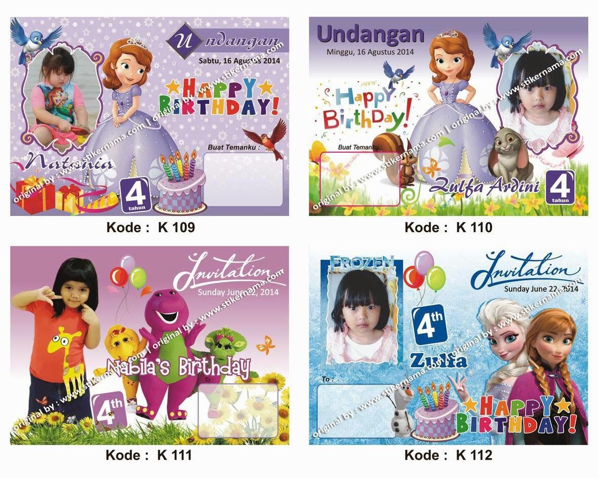 Stiker Label Nama Anak Frame Undangan