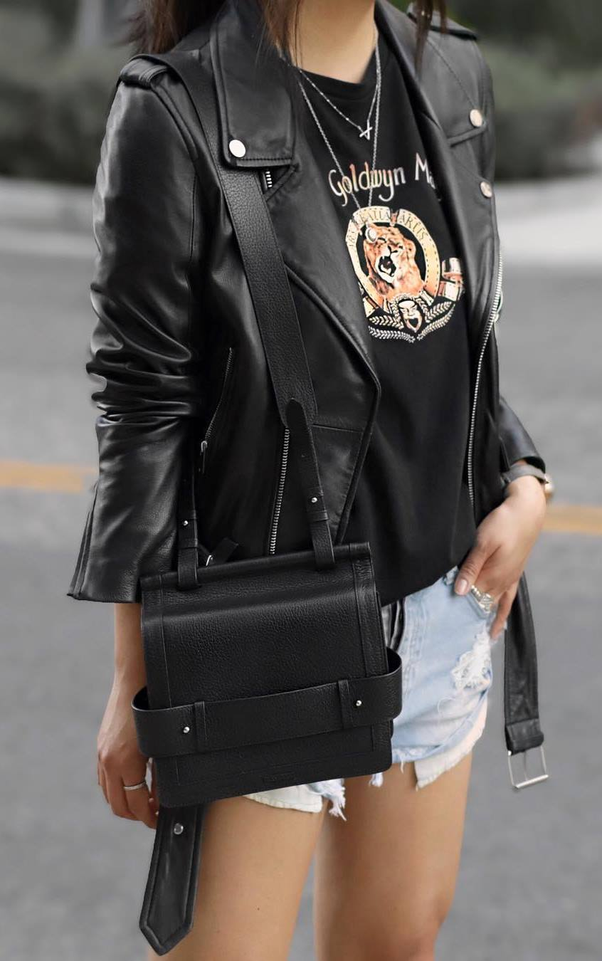 how to wear denim shorts : biker jacket + bag + printed t-shirt