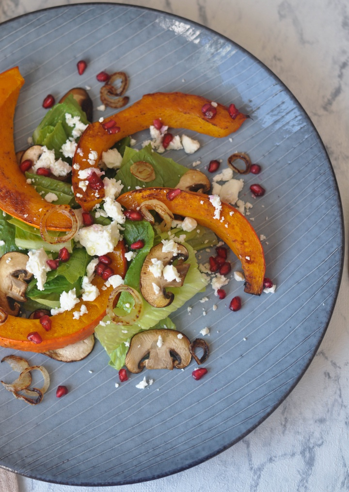 #glutenfree #salad with #roasted #pumpkin and #pomgranate