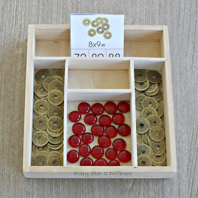 Chinese New Year Lucky Coin Multiplication Clip Card Activity