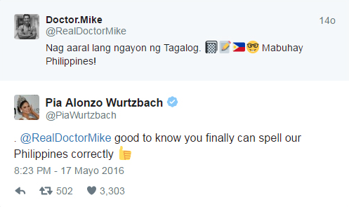 Dr. Mike Tweets in Tagalog for Pia Wurtzbach