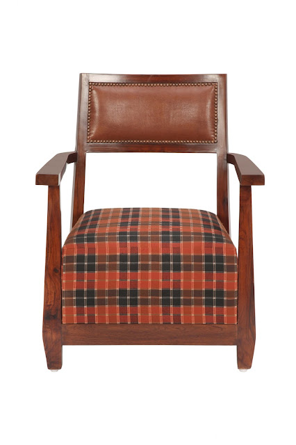 Arm Chair with Claret Red & Green Check Fabric by Casa Colour