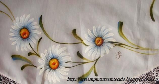 pintura em tecido flores toalha