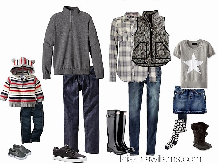 For A Modern Casual Look Stick With Cool Greys And Denim The Kiddos Can Pair Fun Stripes Or Stars Tights Pom Boots Dad
