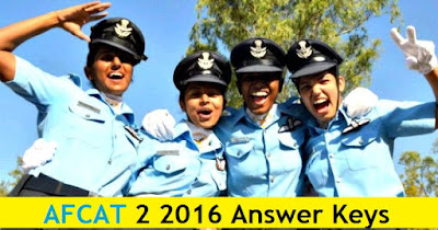 AFCAT 2 2016 Answer Keys - 28th August 2016 Exams