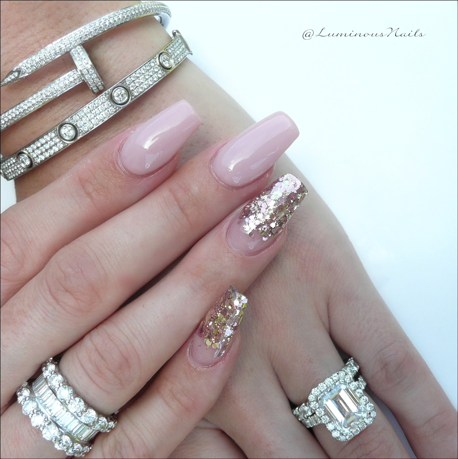 Stunning Soft Pink Gold Acrylic Gel Nails