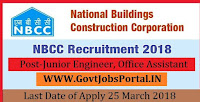 National Buildings Construction Corporation Limited Recruitment 2018–29Junior Engineer, Office Assistant