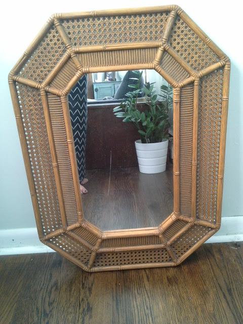 Octagonal rattan mirror