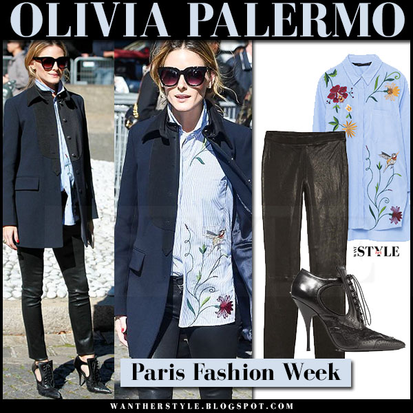 Olivia Palermo in dark navy coat, blue embroidered zara shirt and black leather leggings j brand edita what she wore paris fashion week