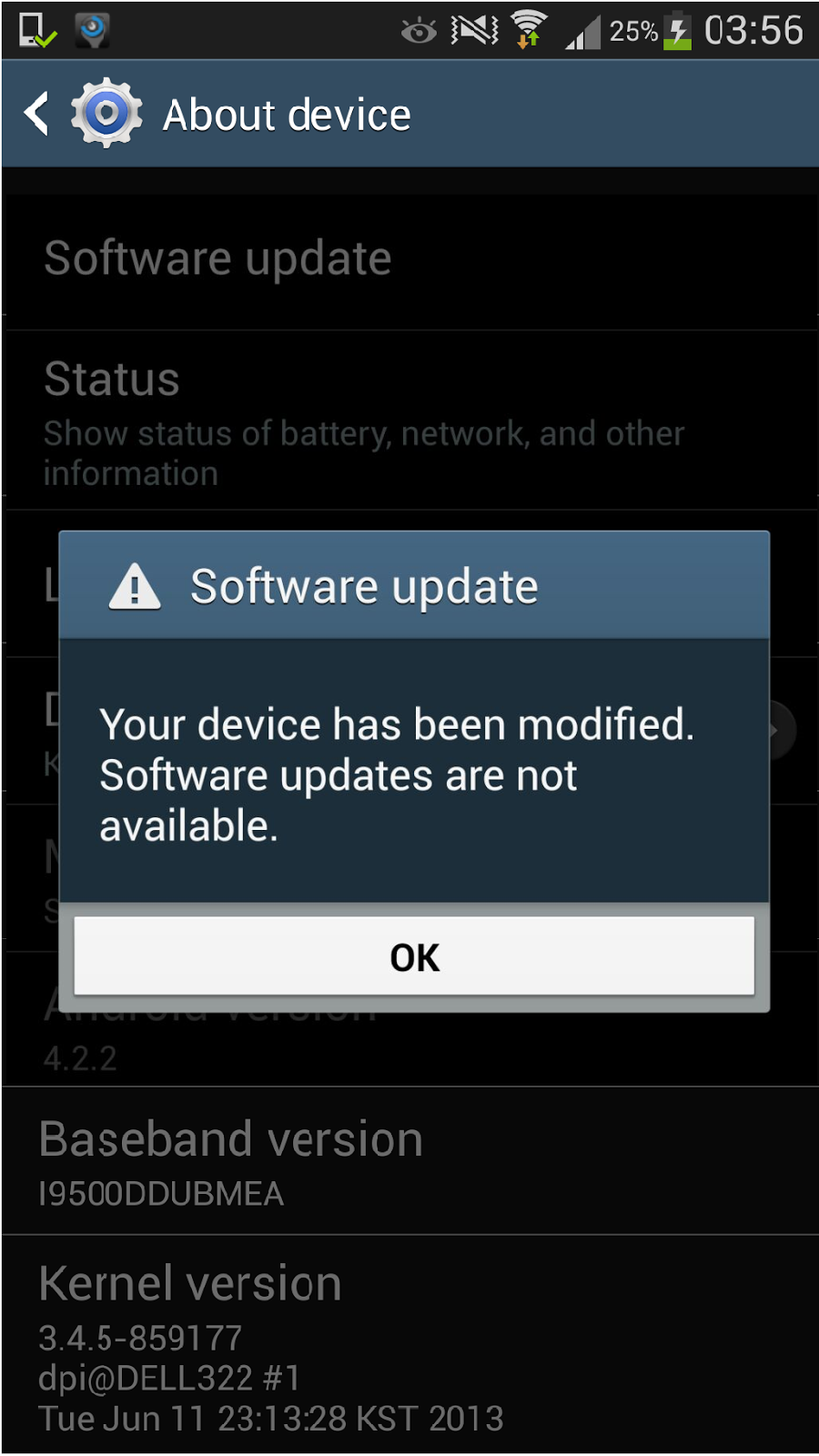 samsung galaxy s4 update your device has been modified