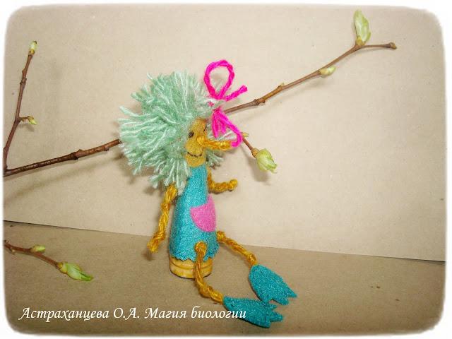 пальчиковый театр,  кикимора, фетр, пальчиковые игрушки,  ветка, весна, зеленый