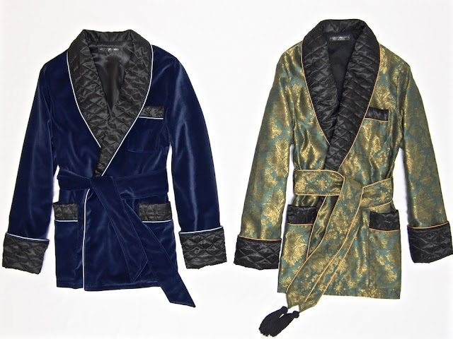 Mens smoking jacket velvet robe paisley quilted silk