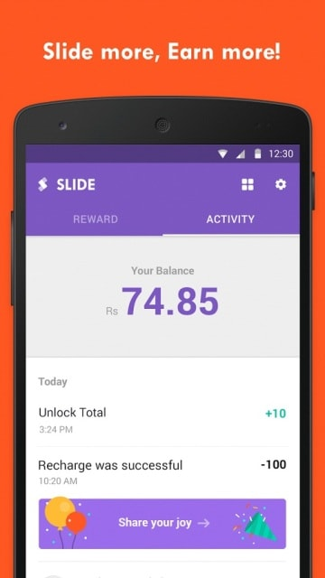 Slide - Earn Free Recharge by Sliding the Screen
