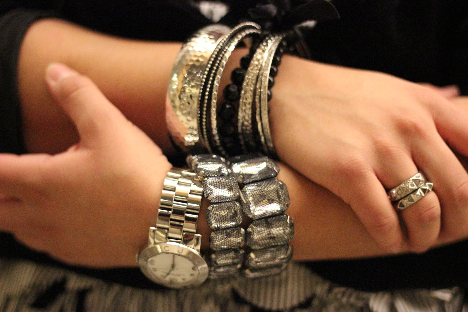 Silver Bangles and Marc Jacobs Watch Arm Party