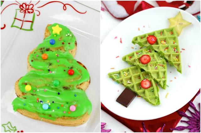 cinnamon rolls and waffles shaped like Christmas trees