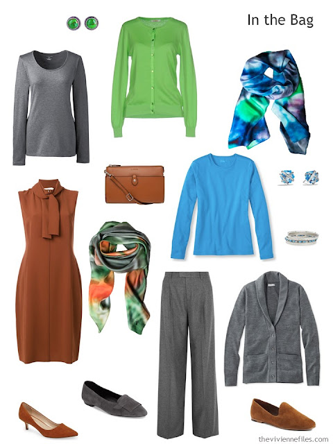 a six-pack travel capsule wardrobe in rust, grey, blue and green