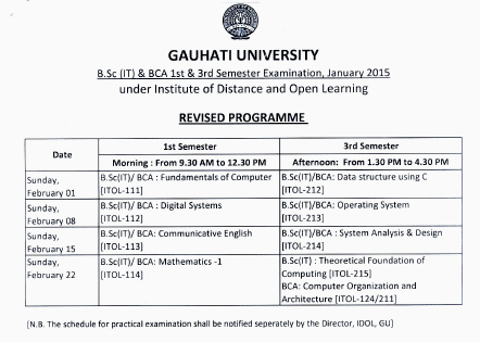 IDOL Guwahati University B.Sc IT & BCA 1st & 3rd Sem Examination Schedule