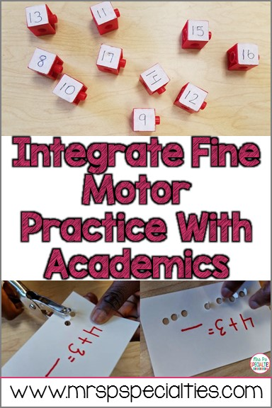It is important to integrate fine motor practice with academics in special education. Our students have too many needs to target each one seperately. It is crucial that we target multiple skills at once.
