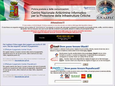 """Esempio di schermata del Virus: """"Polizia Postale"""""""