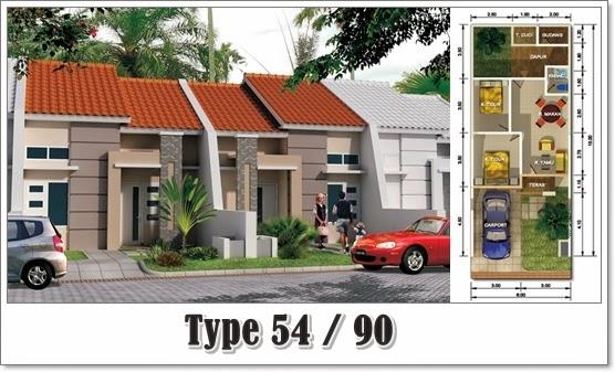 Desain Denah Rumah Minimalis Type 54 Harga Terbaru 2020