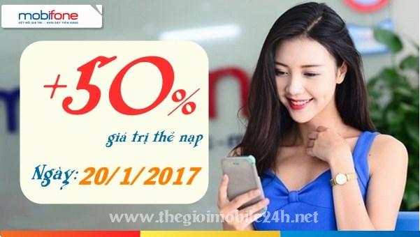 Mobifone khuyến mãi nạp thẻ 50% duy nhất ngày 20/1/2017
