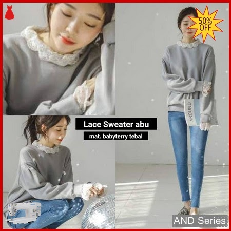 AND373 Sweater Wanita Lace Abu Murah BMGShop