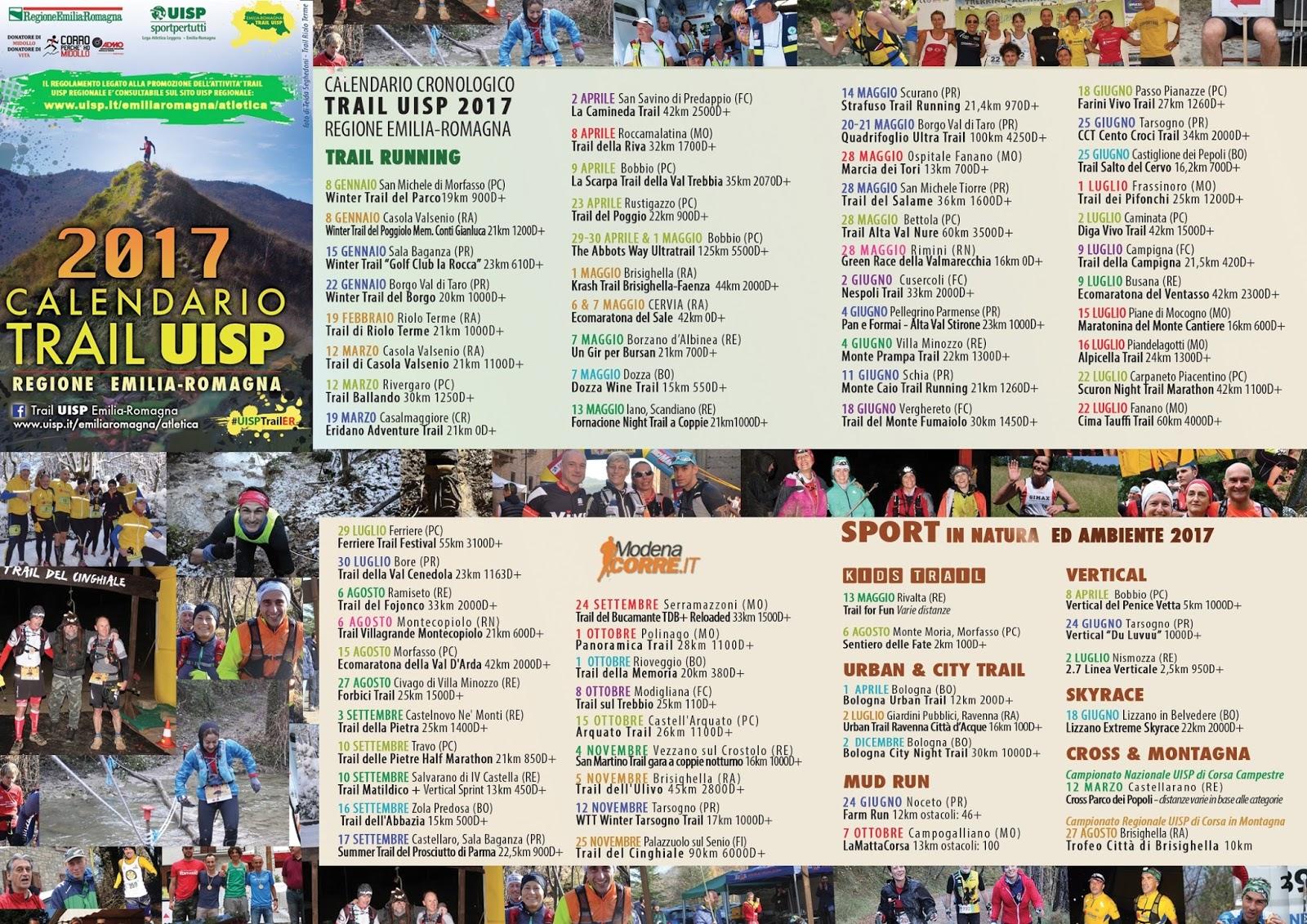 Giuseppe Rosati Calendario.Atletica Corriferrara A S D Calendario Trail 2017 Emilia