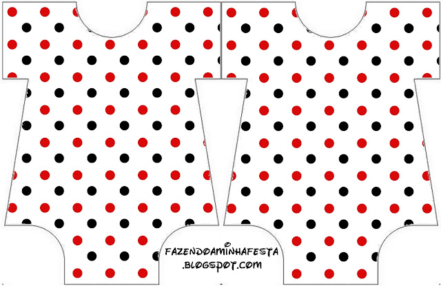 Red Polka Dots in Black and White Baby Bodysuit invitation.