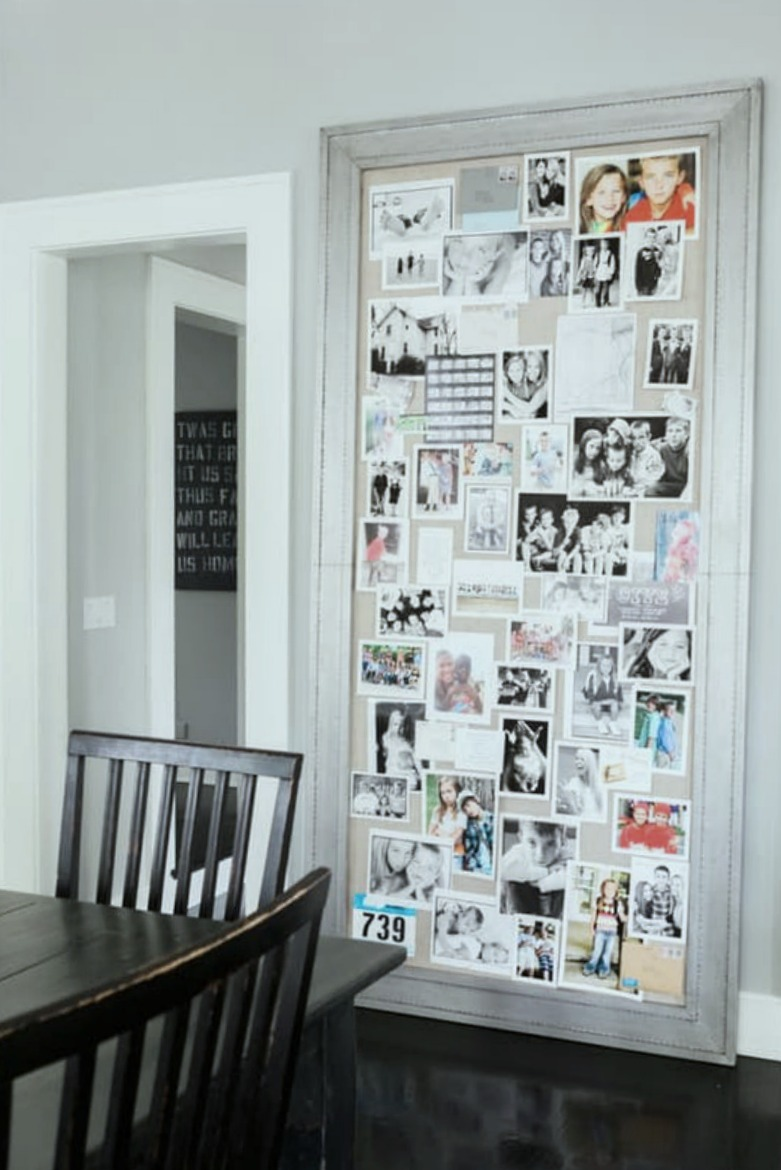 Giant linen mood board in a modern farmhouse kitchen - Hello Lovely Studio