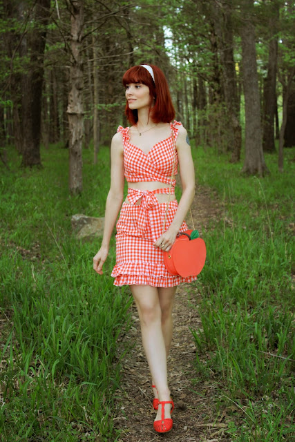 SHEIN Ruffle Strap Orange Gingham Top And Layered Skirt Set Summer Citrus
