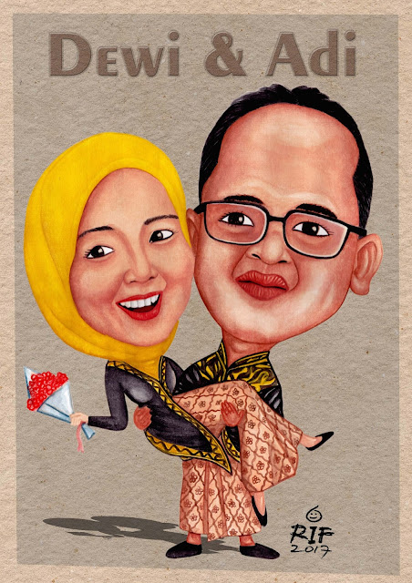 Wedding caricature with watercolor on paper A3 by Arif Srabilor.
