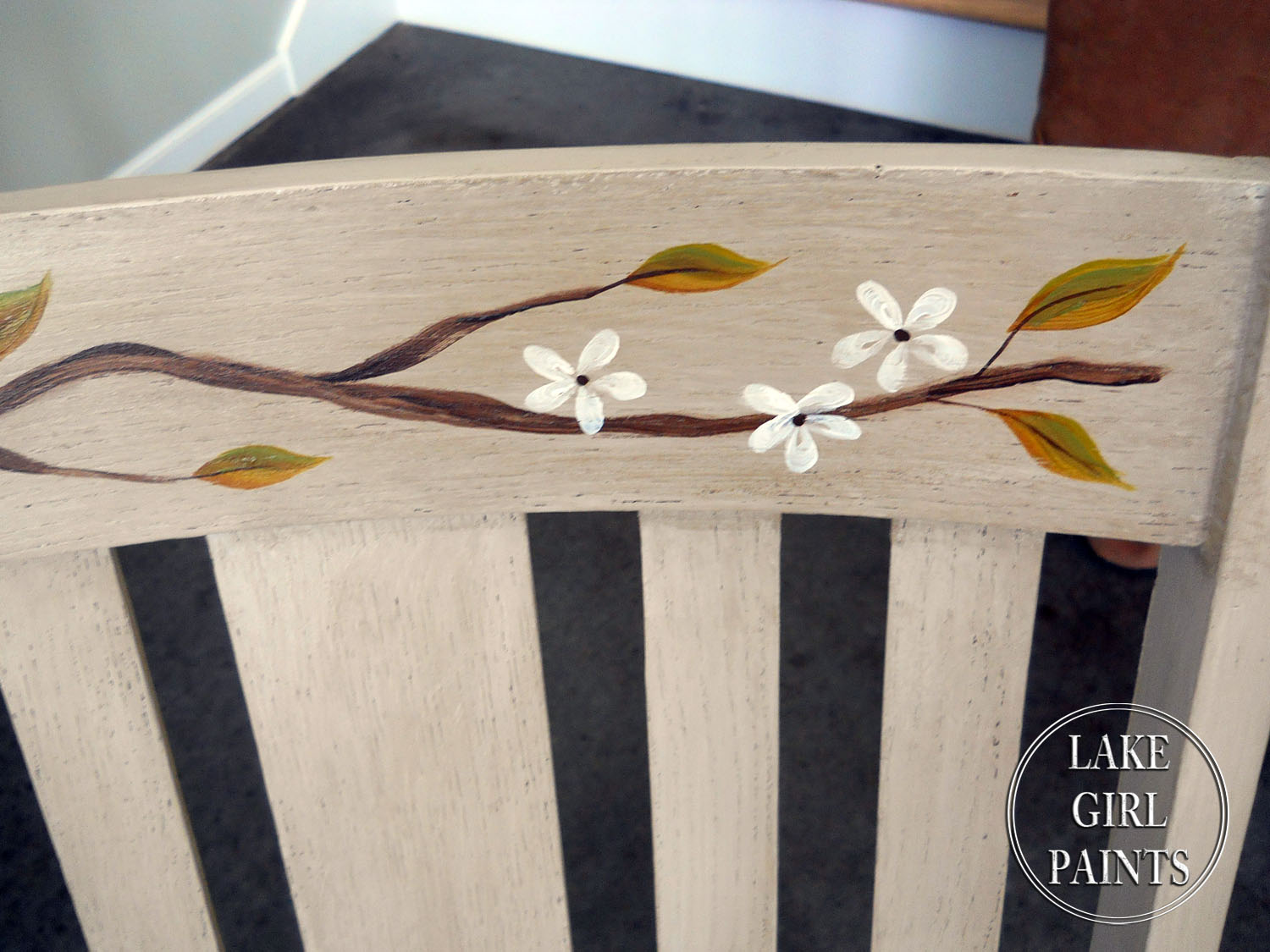 tree branch rocking chair high activity tray lake girl paints painted nature inspired