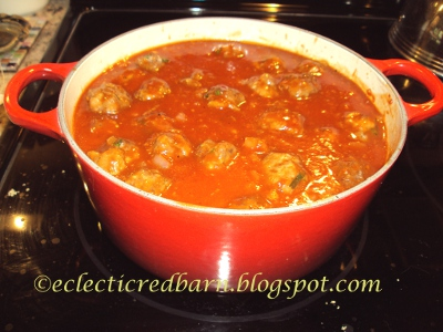 Eclectic Red Barn: Sweet and Sour Meatballs Cooking in Sauce