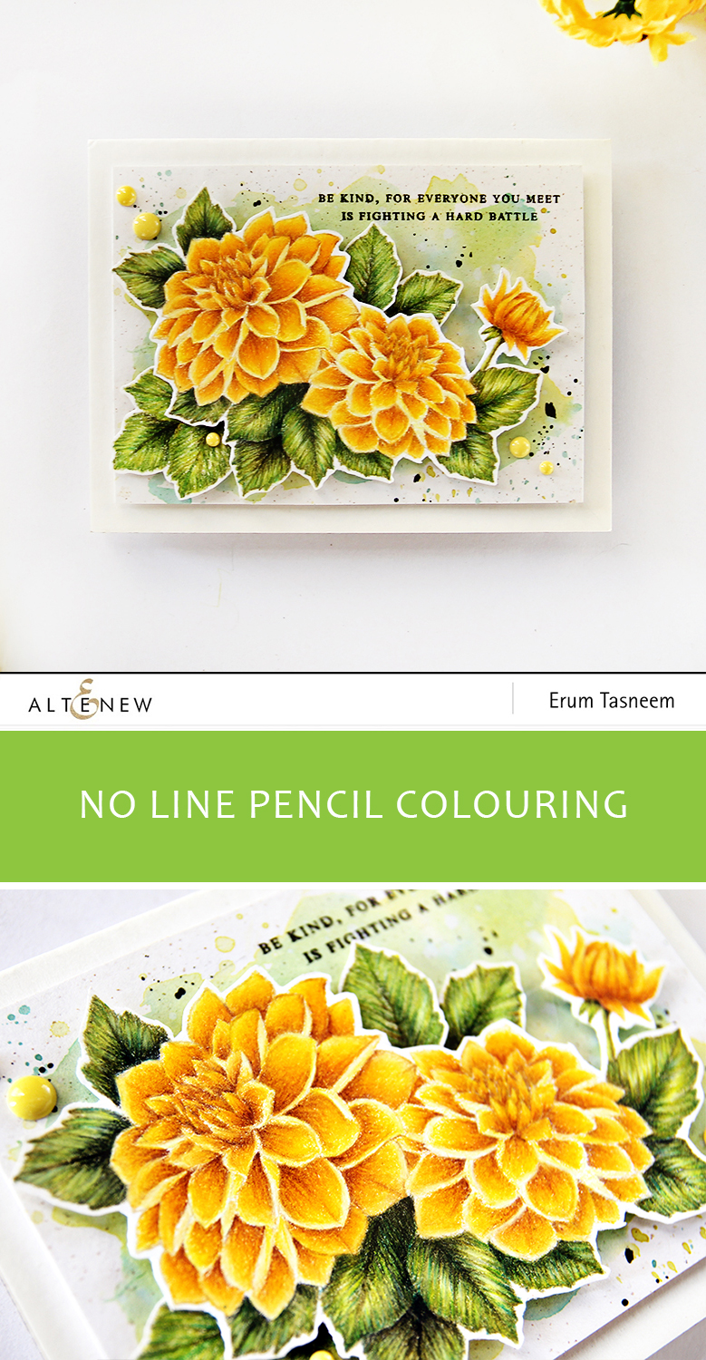 Altenew Dahlia Blossoms pencil coloured by Erum Tasneem - @pr0digy0