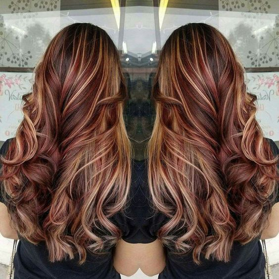 Red Highlights On Black Brown Blonde Hair Hair Fashion Online